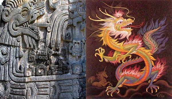"""Deidad Maya y Azteca """"Quetzalcóatl"""", """"Kukulcan"""": Serpiente Emplumada, junto a Dragón Chino."""