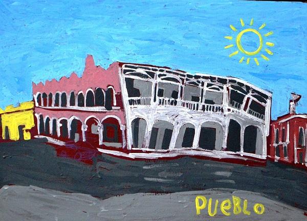 Título: Calle 62;85 cm x 65 cm;Acrílico sobre tela;2017;Autor: Juan Pueblo el Pelaná (Juan Pablo Quintal)