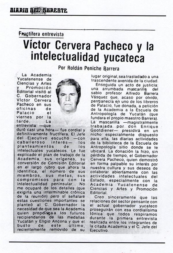 """Así informamos de la visita de los intelectuales al gobernador Cervera, quien respaldó al """"Diario del Sureste"""" y a quienes lo hicieron posible durante varias décadas del siglo anterior."""