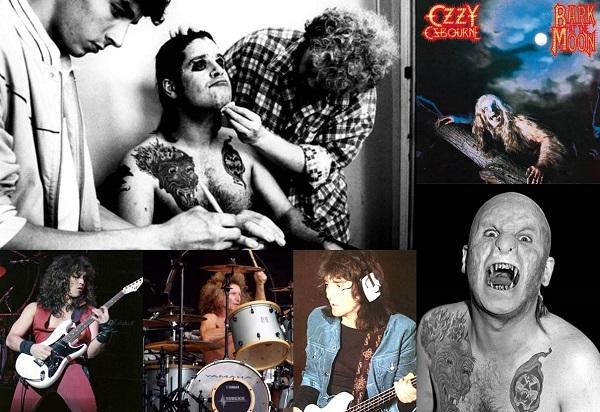 Greg Channon, artista de maquillaje en 'Nightmare on Elm Street', maquillando a Ozzy para la sesión de portada del álbum 'Bark at the Moon' en septiembre de 1983. Abajo: Jake E. Lee, Tommy Aldridge y Bob Daisley.