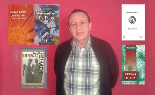 Los libros escritos por Roger Metri son; 'En tu ausencia perdí un reino', 'Cómo engañar a Bo Derek', 'Crepúsculo del camaleón', 'La promesa infinita', 'Nostalgia de la luz'.