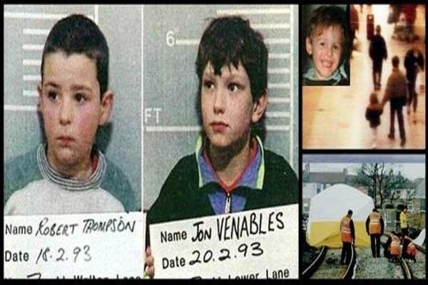 """Robert Thompson y Jon Venables, de 10 años de edad, """"Los Niños Asesinos de Liverpool"""": secuestraron, torturaron y asesinaron a un pequeño de dos años de edad."""