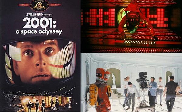 Uno de los posters oficiales del filme que contó con un excelente diseño de producción. Abajo, a la derecha, vemos a Arthur C. Clarke en el set de rodaje: es el de lentes que observa a Stanley Kubrick, quien manipula la cámara.