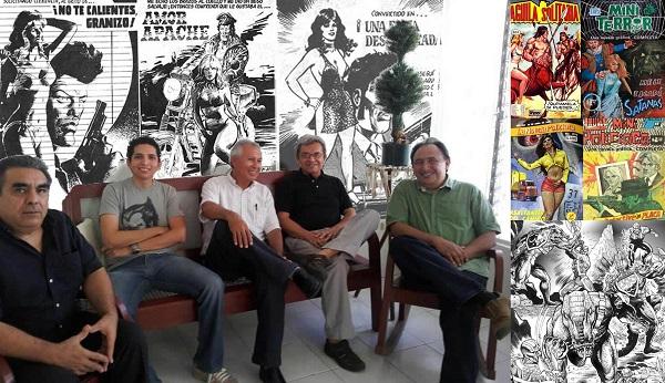 Reunión anual de dibujantes de historieta en Mérida. Néstor Vargas, Fernando Peniche, Felipe Magaña, Alberto Maldonado y Luis Ortegón. Además, vemos algunas de las publicaciones en las que participó.