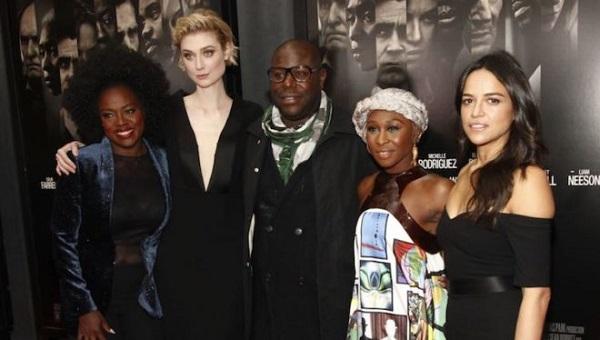 Viola Davis, Elizabeth Debicki, Steve McQueen, Cynthia Erivo y Michelle Rodriguez, director y estrellas de Viudas.