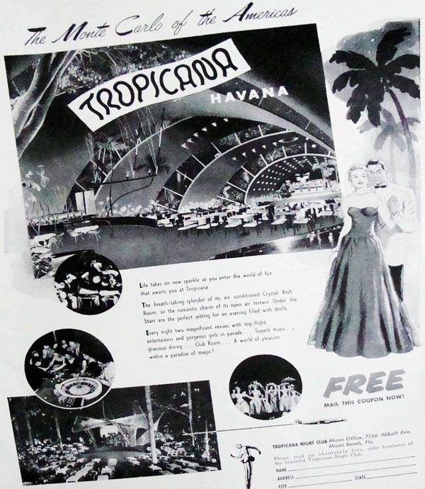 Promoción de los años 50 del Cabaret Tropicana, bautizaco como el Monte Carlo de las Américas.