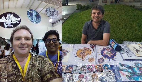 Camilo Solís y Marco Gómez, expositores en el Salón Chichen Itzá FILEY 2019, dos de los organizadores de este evento. A la derecha, Joel Castilla Rosado, fundador de la Olimpiada del Dibujo en Mérida.