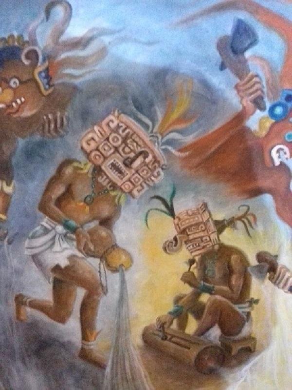 Los mitos y leyendas son plasmados en telas en las que emerge la maestría de la línea del pintor Manuel Lizama. Cada obra pictórica es un libro de enseñanzas.