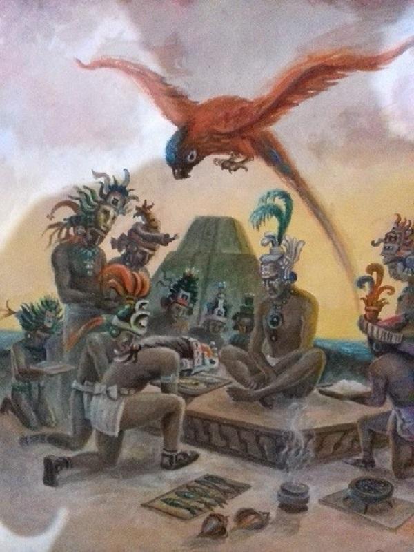 Momentos cumbres y la recreación de la historia regional son plasmadas en las mantas en las que se distinguen los símbolos y la presencia de la cultura y la tradición humana en nuestra península. Obra de Lizama Salazar.